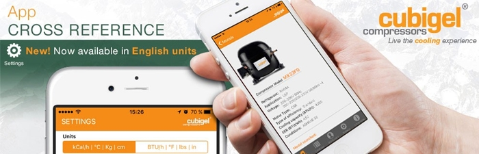 Cubigel Compressors® Cross Reference APP now available in BTU